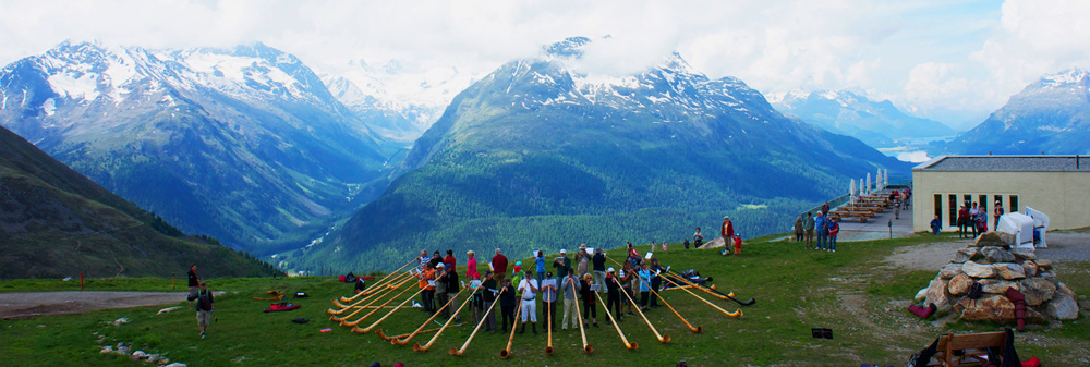 Alphornspielen auf Muottas Muragl